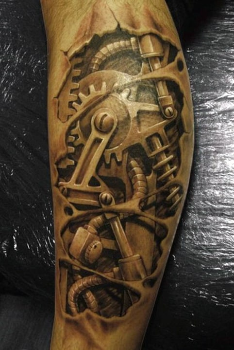 Mechanical Men's Sleeve Tattoo