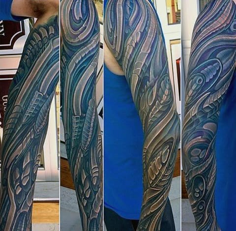 Mechanical Mens Unique Sleeve Tattoos