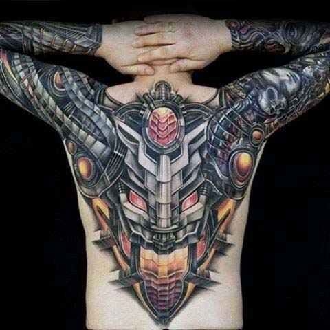 Mechanical Robot Extreme Male Upper Back Tattoo