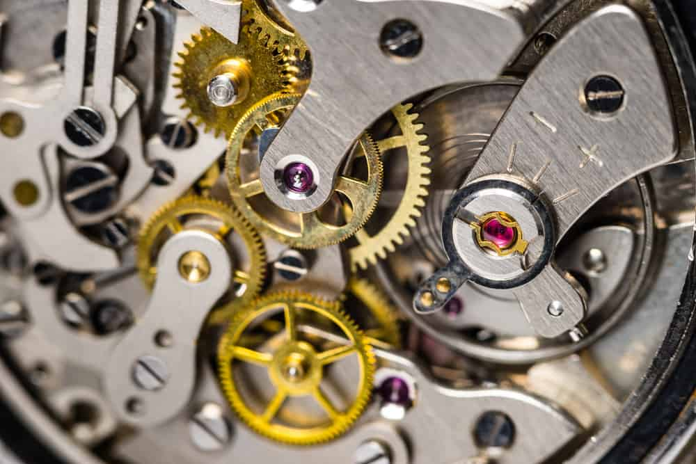 close up of mechanical watch movement