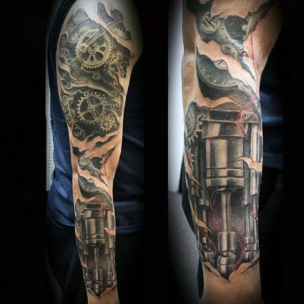 Mechanical Wings Tattoo For Men