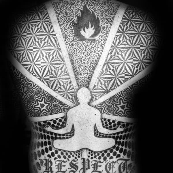 Mediation Factal Mens Pattern Full Back Tattoos