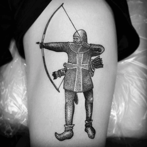 Medieval Archery Tattoo For Men On Leg Thigh For Men