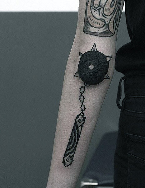Medieval Ball And Chain Elbow Tattoo For Guys
