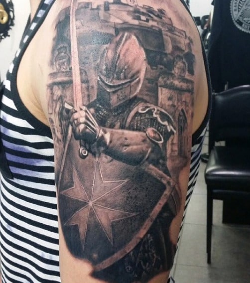 Top 80 best knight tattoo designs for men brave ideas for Medieval dragon tattoo