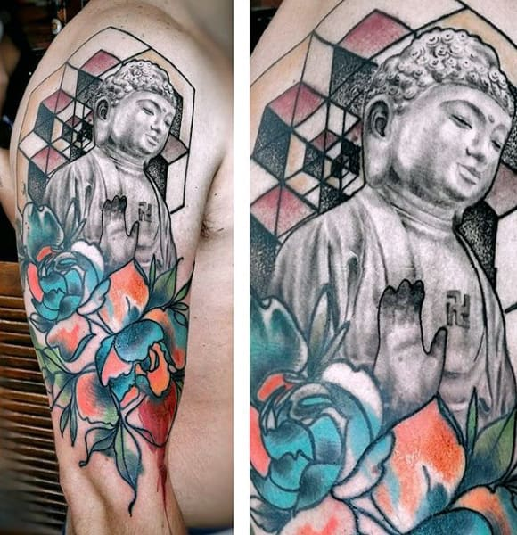 Meditating Buddha Watercolor Tattoo On Arms For Males