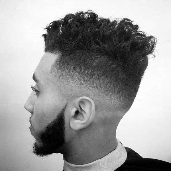Medium Fade Curly Hairstyle For Men