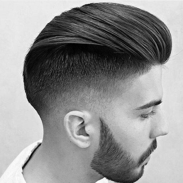Medium Hair Length Styles Men Slicked Back Undercut Taper Fade