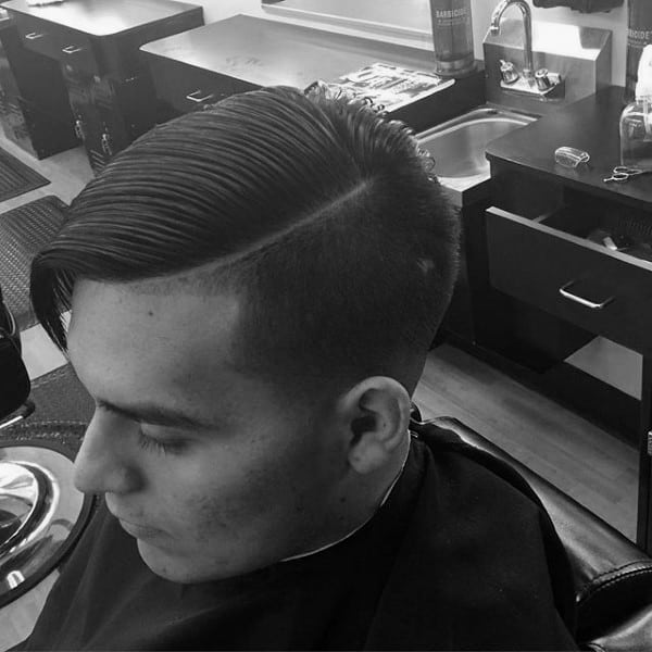 Medium Length Mens Comb Over With Short Fade Sides