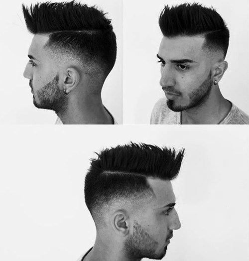 Medium Length Mens Faux Hawk Fade Mid