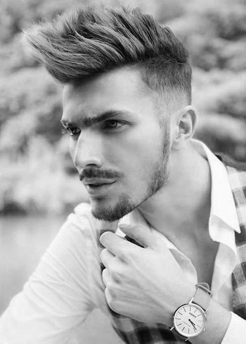 Medium Long Length Mens Faux Hawk Fade Hairstyle Trendy
