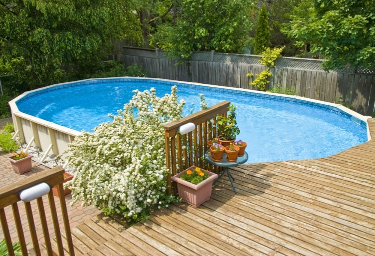 Medium Size Above Ground Pool Wood Deck