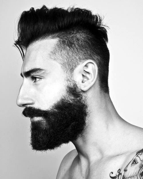 Medium Undercut Hair For Men With Beards