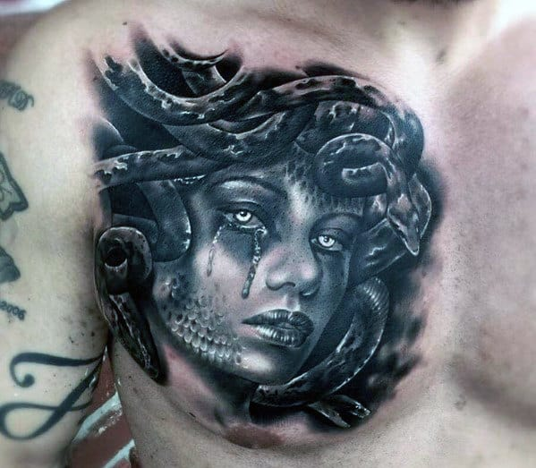 Medusa Chest Tattoo On Man