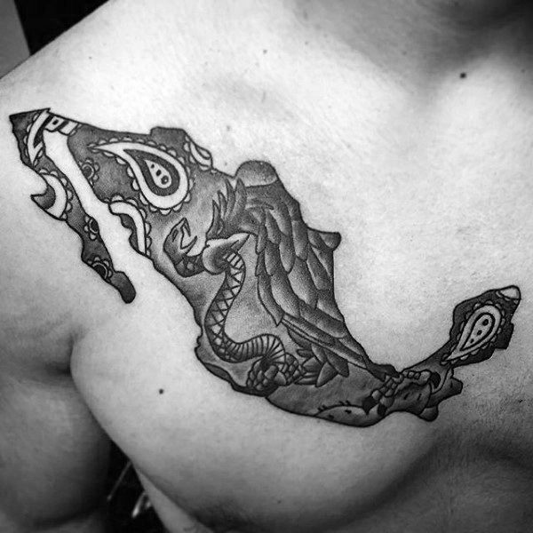 Meixco Country Map Eagle Guys Tattoos On Chest