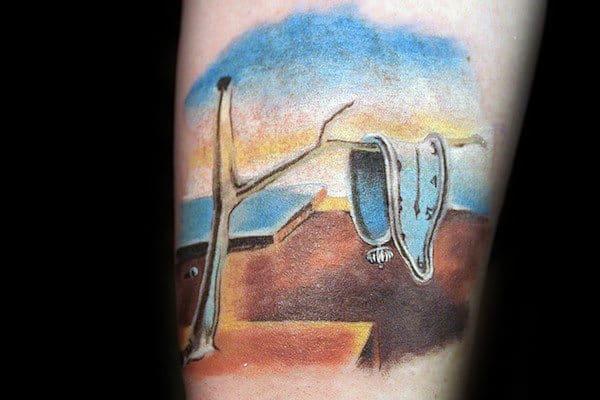 Melting Clock The Persistence Of Memory Mens Watercolor Tattoos