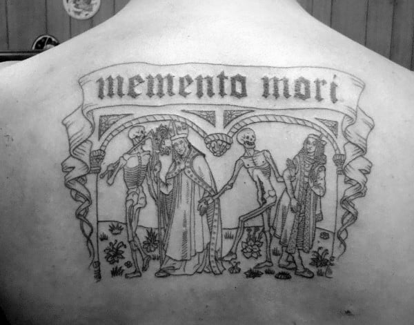 Memento Mori Mens Upper Back Tattoo Ideas