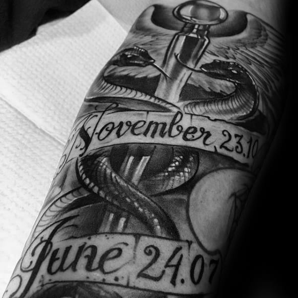 Memeorial Caduceus Mens Forearm Tattoos