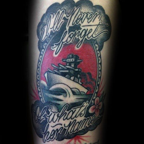 Memorial Battleship Male Tattoo Designs On Arm
