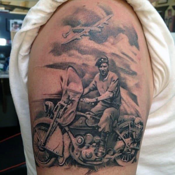 Memorial Biker Mens Upper Arm Tatoo Ideas