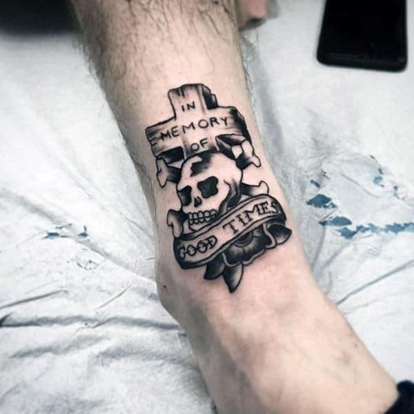 Memorial Cross Skull Traditional Mens Lower Leg Tattoos