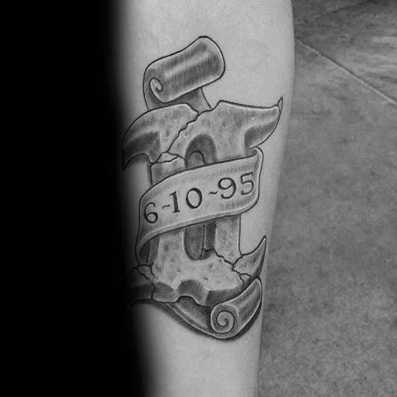 Memorial Date With Stone Gemini Symbol Male Forearm Tattoo