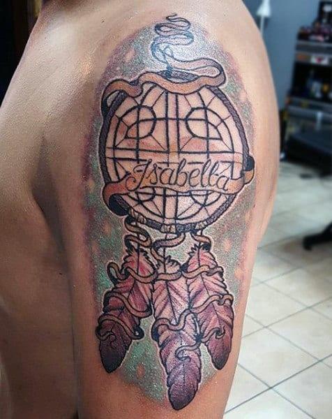 Memorial Dreamcatcher Mens Upper Arm Tattoo