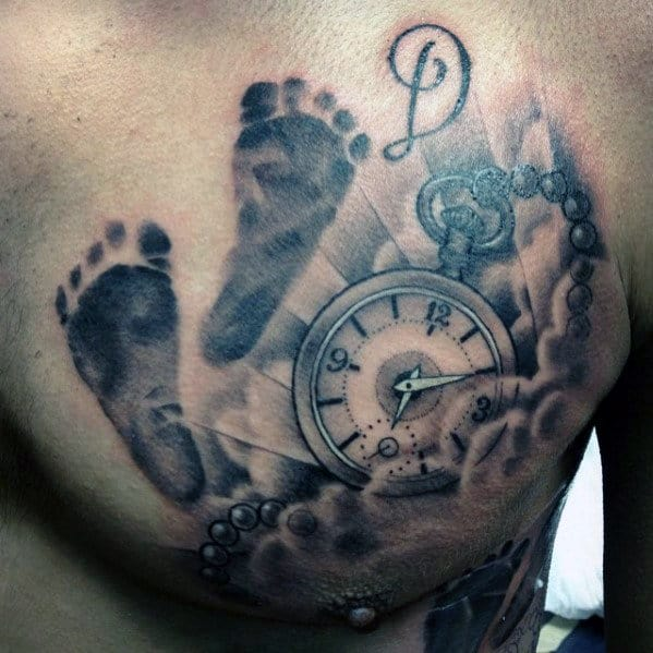 Memorial Guys Pocket Watch With Footprint And Clouds Chest Tattoo