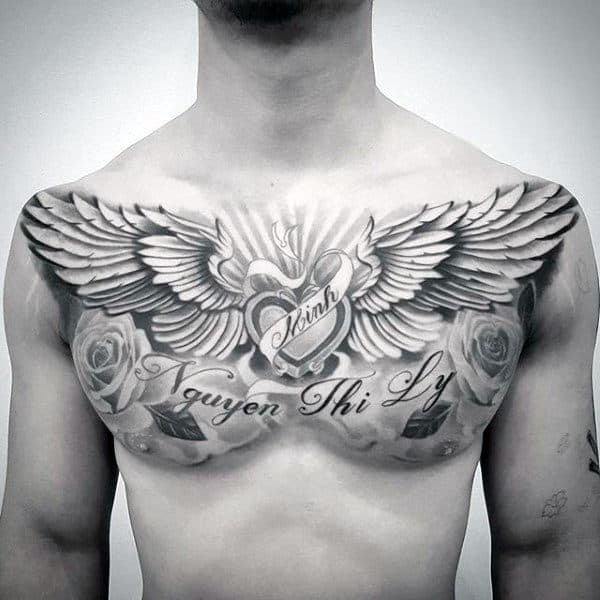40 Wing Chest Tattoo Designs For Men , Freedom Ink Ideas