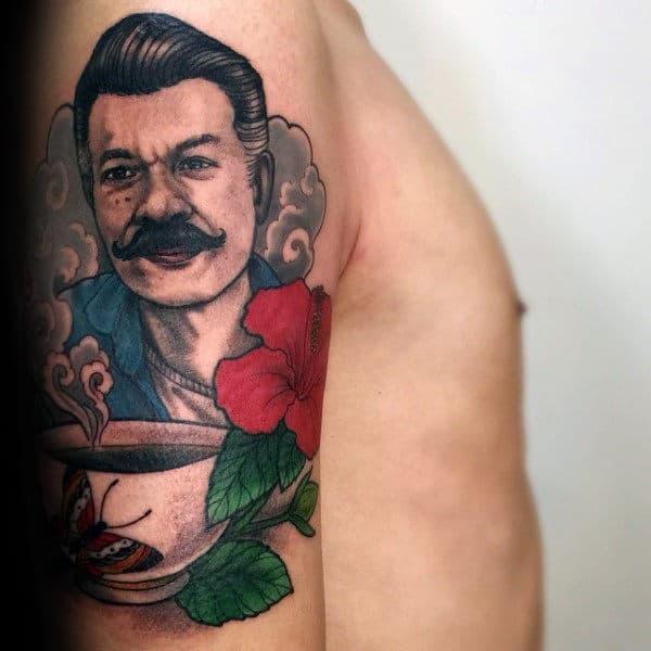 Memorial Hibiscus Mens Arm Tattoo