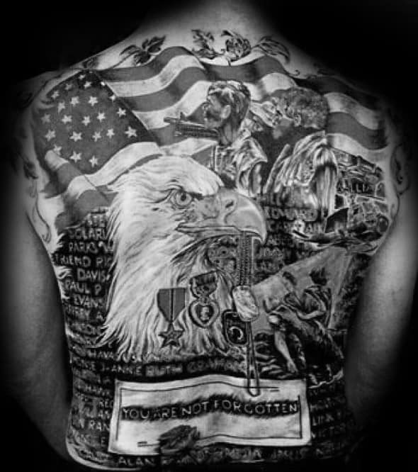 Memorial Military Bald Eagle Back Tattoos For Guys