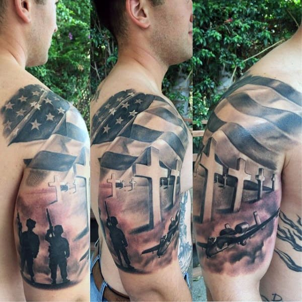 Memorial Patriotic Army Soliders With 3d Crosses Male Half Sleeve Tattoo