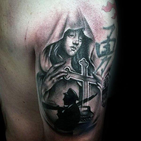 Memorial Police Service Mens Religious Back Of Arm Tattoo