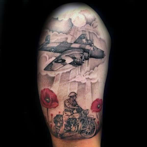 Memorial Poppy Flower Mens Army Themed Half Sleeve Tattoo