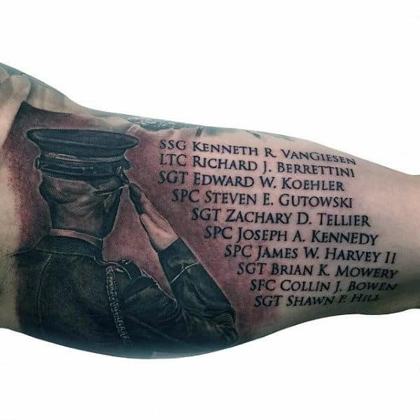 Memorial Tribute Air Force Mens Bicep Tattoos