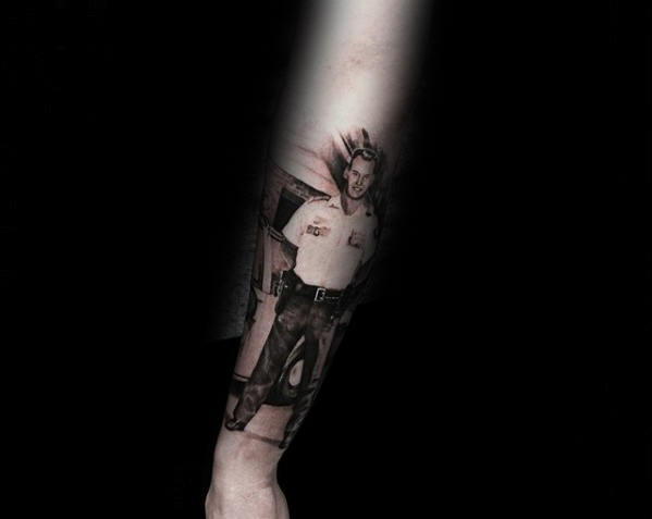 Memorial Tribute Mens Police Officer Portrait Tattoo On Outer Forearm