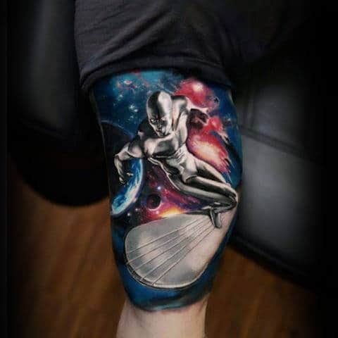 Men Arms Interesting Alien Surfing Tattoo