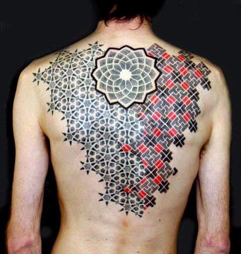 Shapes Men Back Tattoo