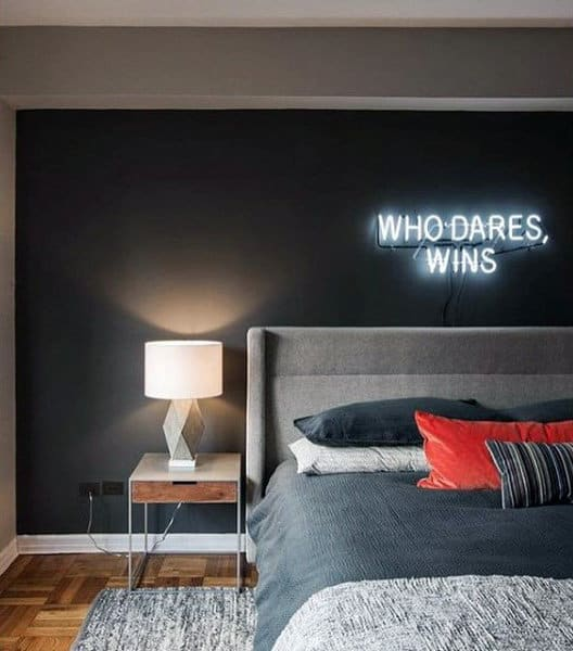 Beau Men Bedroom Ideas With Neon Sign Wall Decor