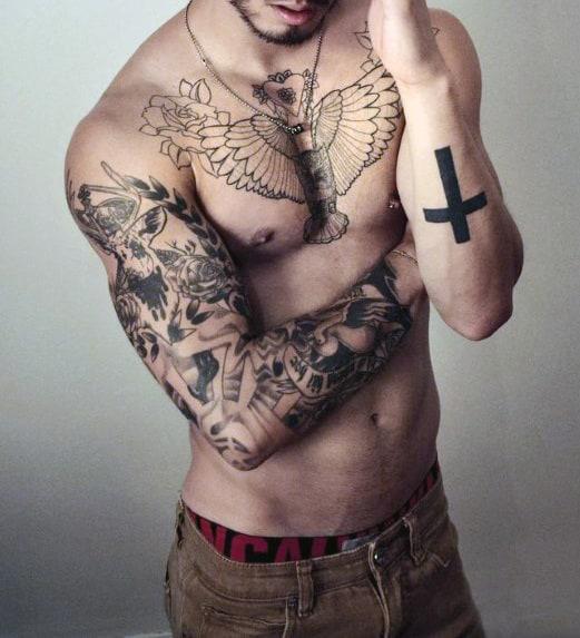 Black Men Cross Tattoo