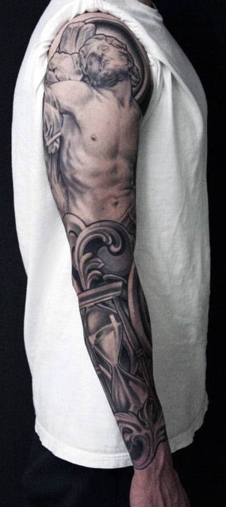 Full Sleeve Men Cross Tattoos