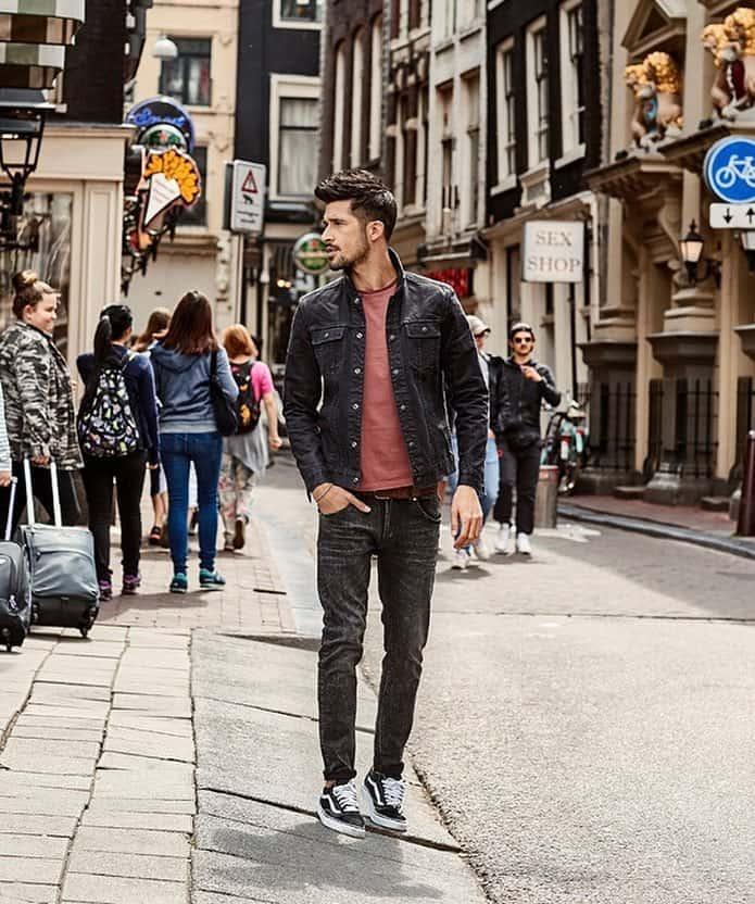 Tenue de veste en jean pour hommes