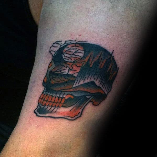 Men Forearms Halloween Skull Tattoo