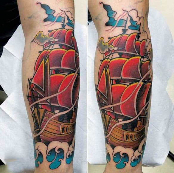 Men Forearms Neo Traditional Large Red Sails Tattoo