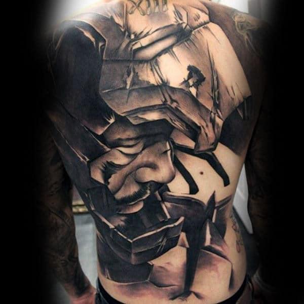 Men Full Back Manly Impressive Tattoo