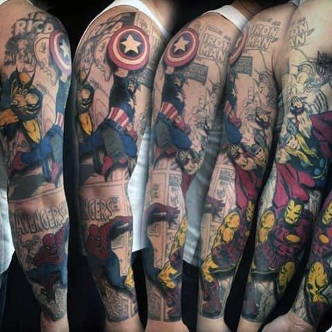 Men Full Sleeve Spiderman Tattoo