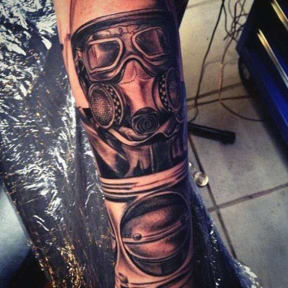 Men Gas Mask Tattoo Styles