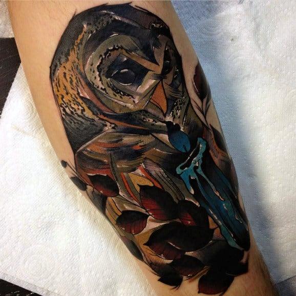 Men's Owl On Branch Tattoo