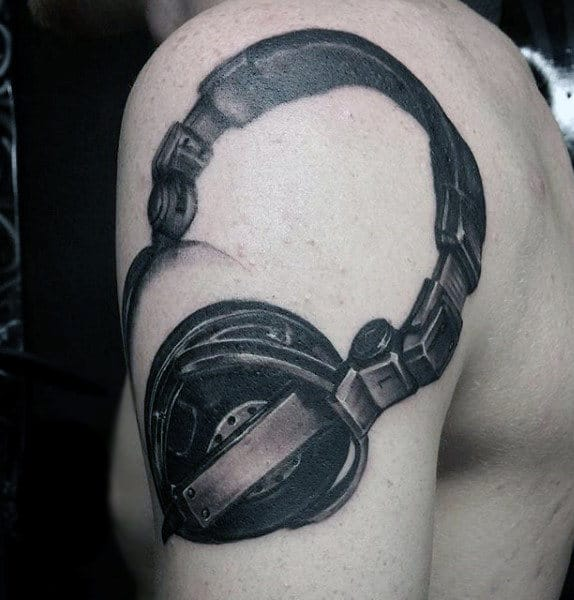 Men Shoulders Head Phone Music Tattoos