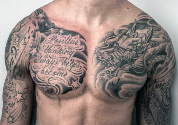 Men Star Tattoos On Chest